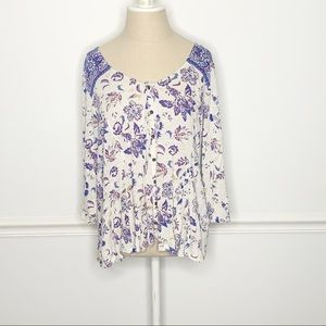 Lucky Brand Floral Long Sleeve Button Blouse Large